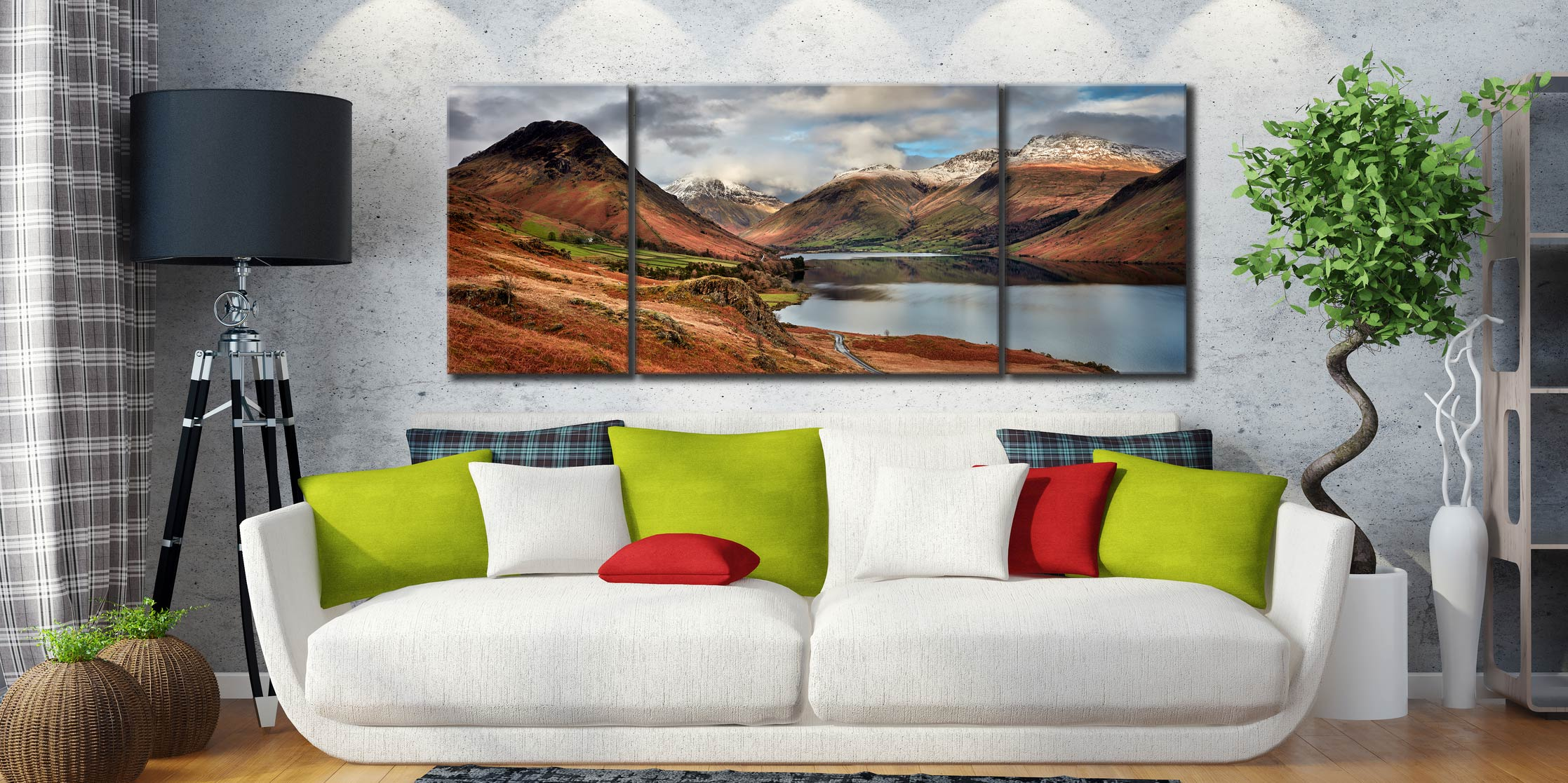 Snow on Mountains at Wast Water - 3 Panel Wide Centre Canvas on Wall