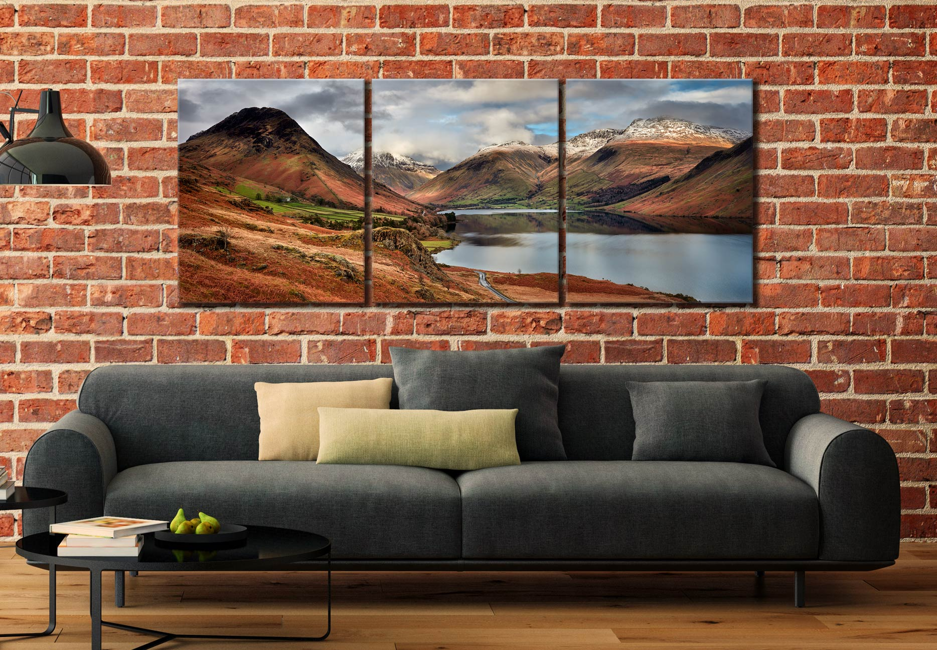 Snow on Mountains at Wast Water - 3 Panel Canvas on Wall