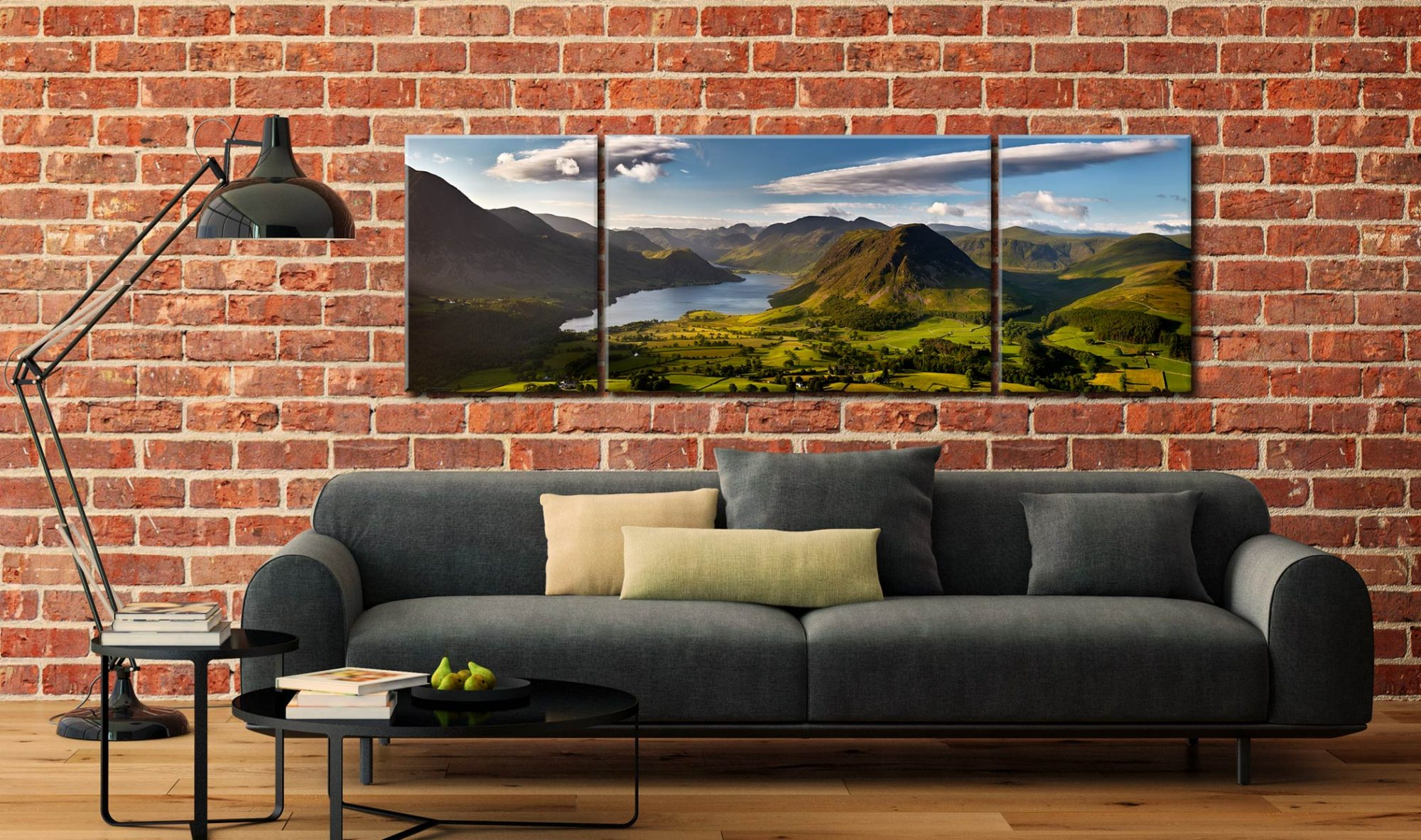 Morning Sunshine on Crummock Water - 3 Panel Wide Centre Canvas on Wall