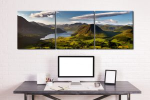 Morning Sunshine on Crummock Water - 3 Panel Canvas on Wall