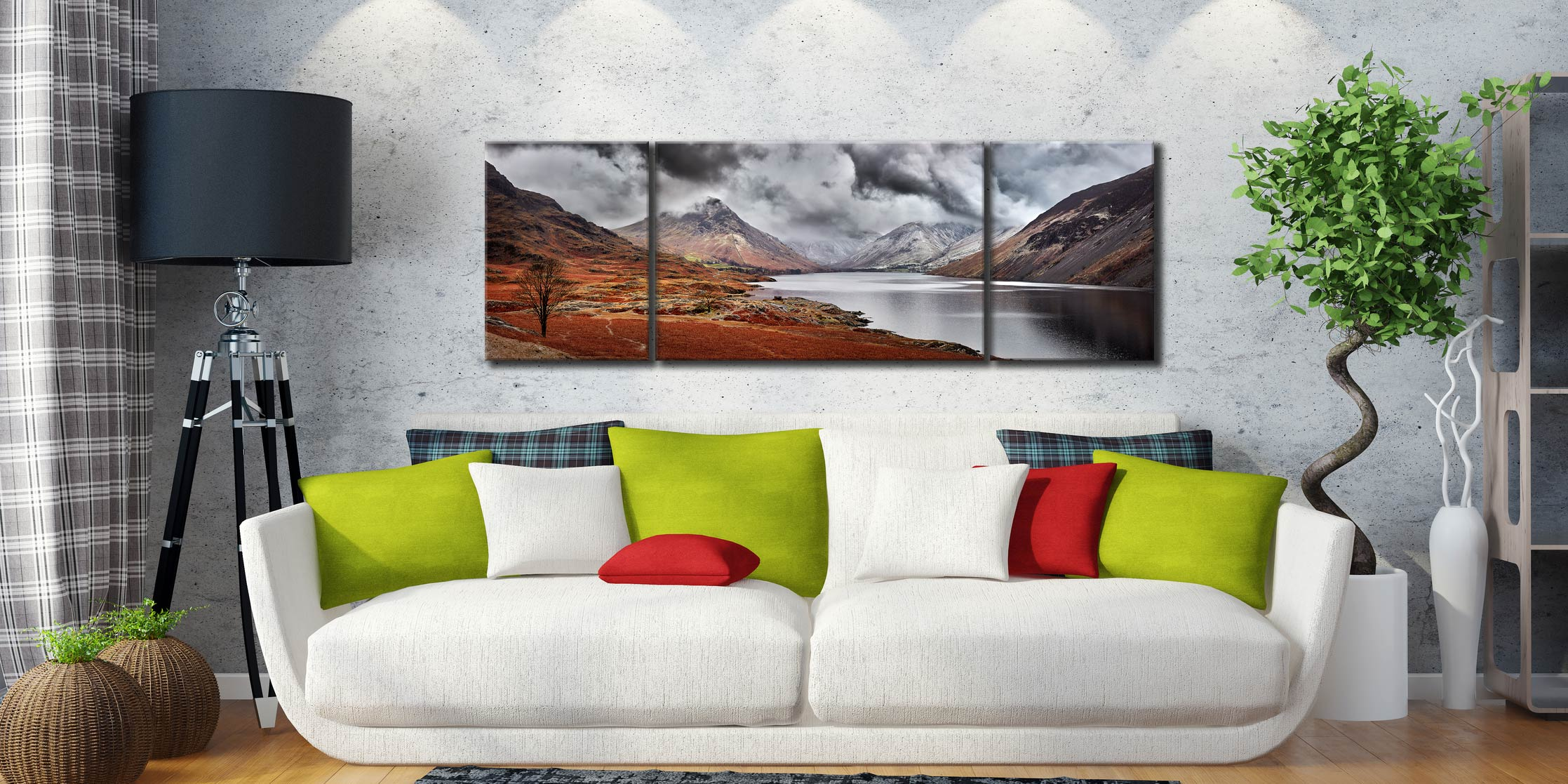Dark Skies Over Wast Water - 3 Panel Wide Centre Canvas on Wall