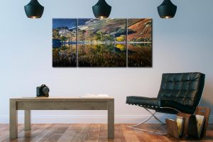 Buttermere Autumn Reflections - 3 Panel Wide Centre Canvas on Wall