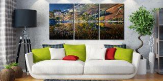 Buttermere Autumn Reflections - 3 Panel Canvas on Wall