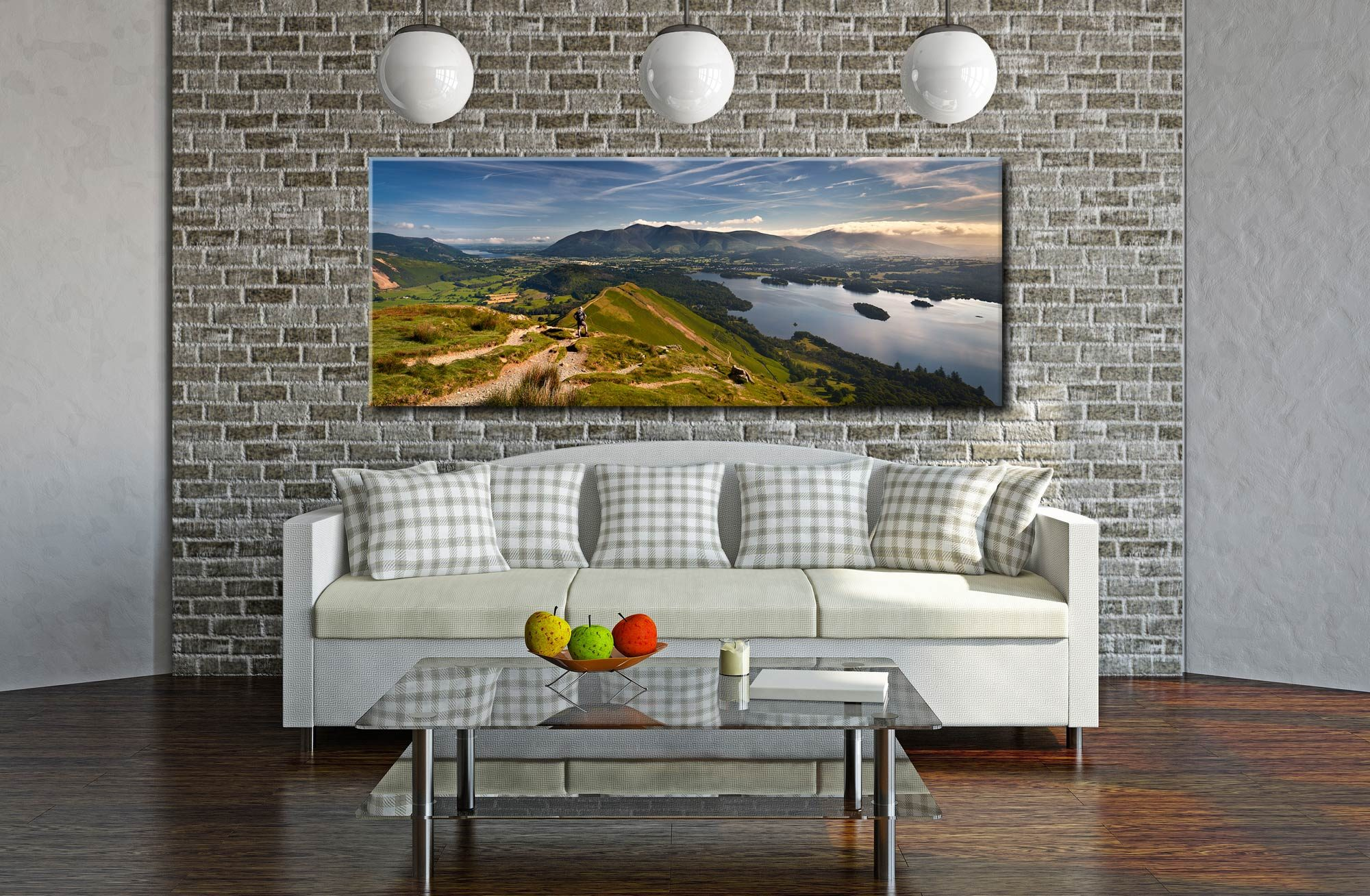 Cat Bells Panoramic View - Canvas Print on Wall