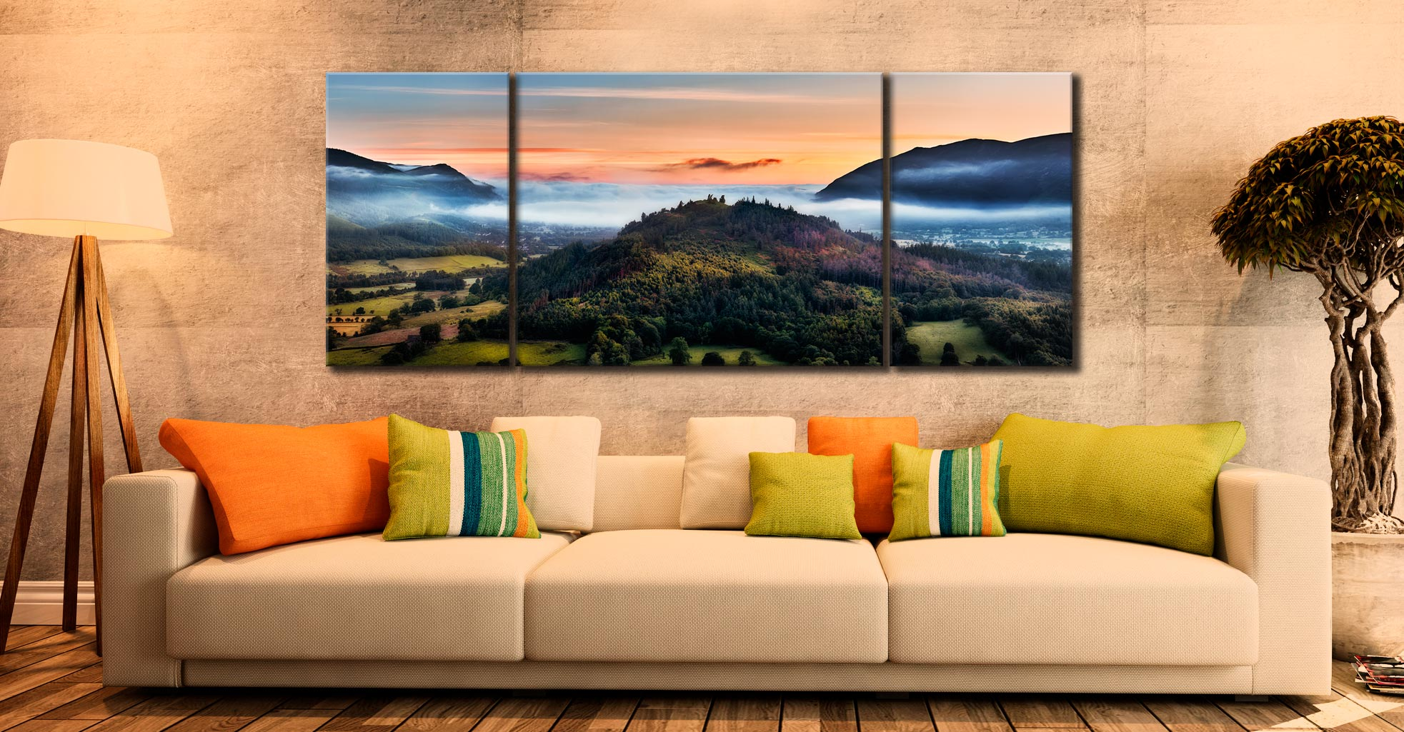 Dawn Mists Over Bassenthwaite Lake  - 3 Panel Wide Mid Canvas on Wall