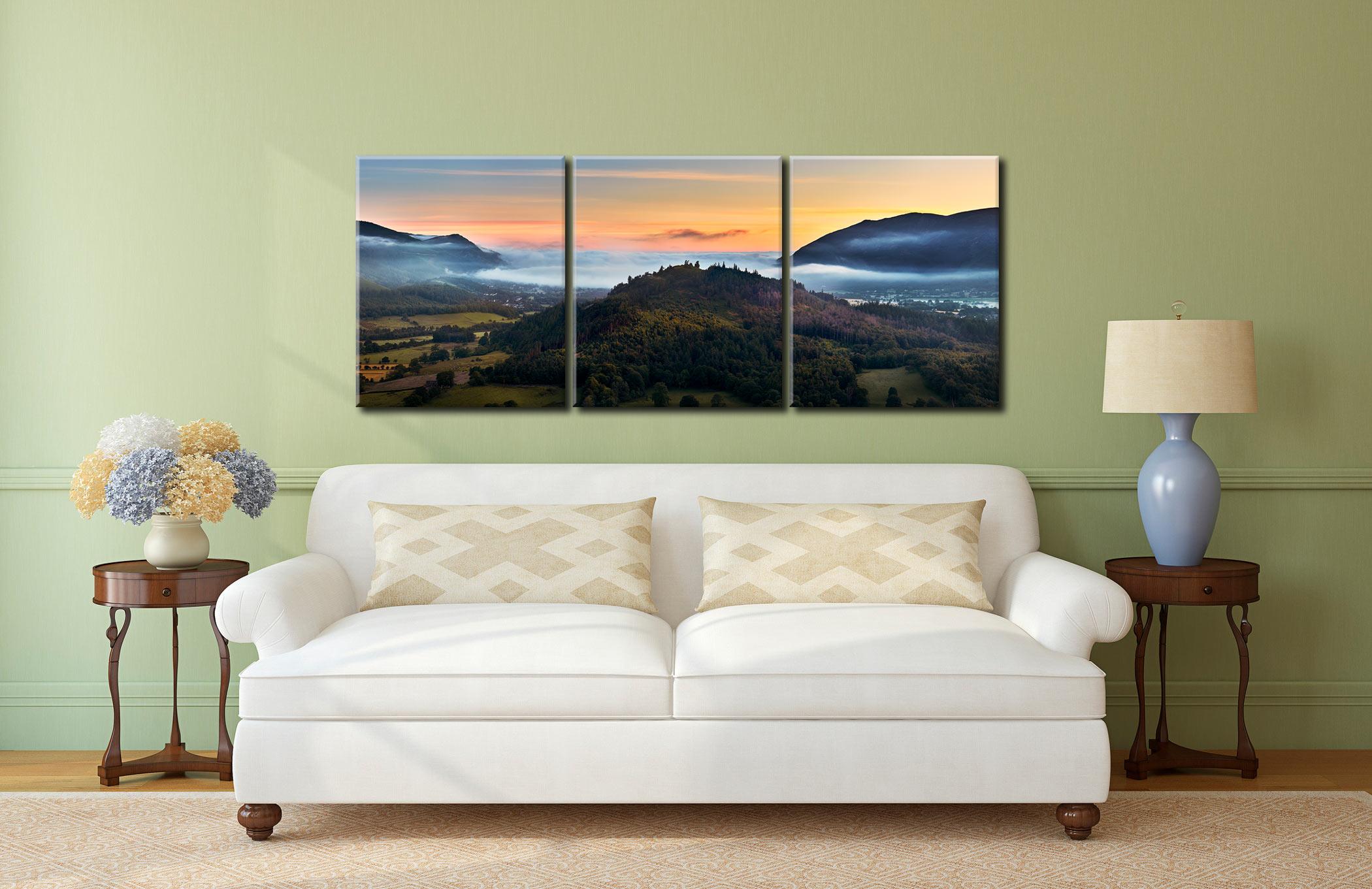 Dawn Mists Over Bassenthwaite Lake  - 3 Panel Canvas on Wall