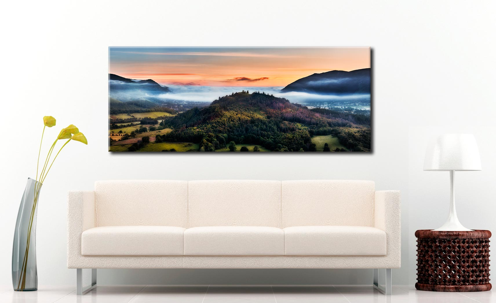 Dawn Mists Over Bassenthwaite Lake - Canvas Print on Wall