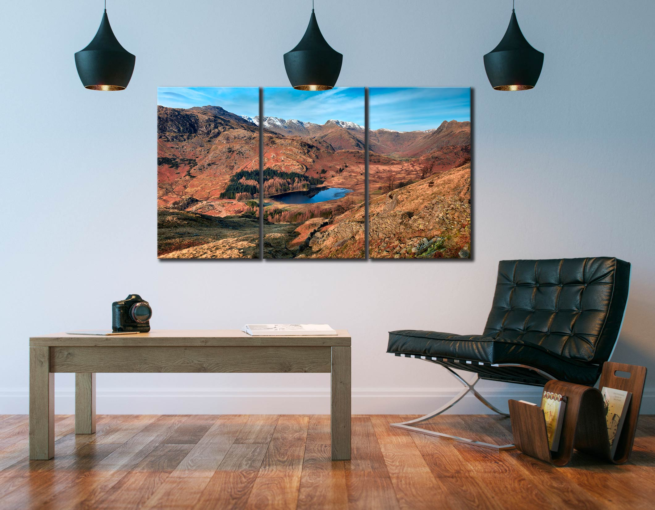 Winter Sun Over Blea Tarn - 3 Panel Canvas on Wall