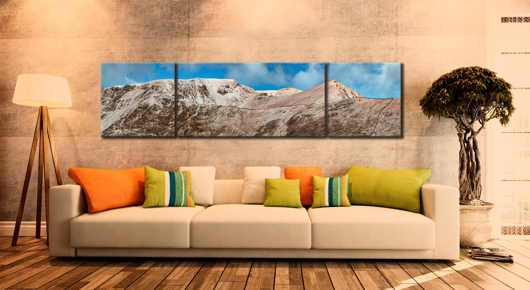 Snow Capped Helvellyn Mountains - 3 Panel Wide Centre Canvas on Wall