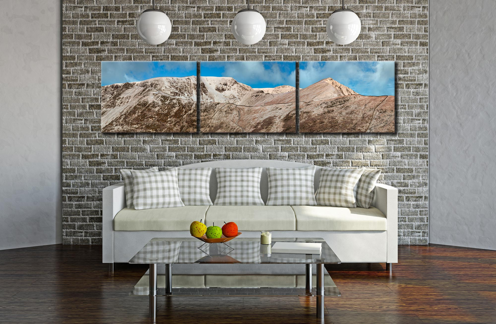 Snow Capped Helvellyn Mountains - 3 Panel Canvas on Wall