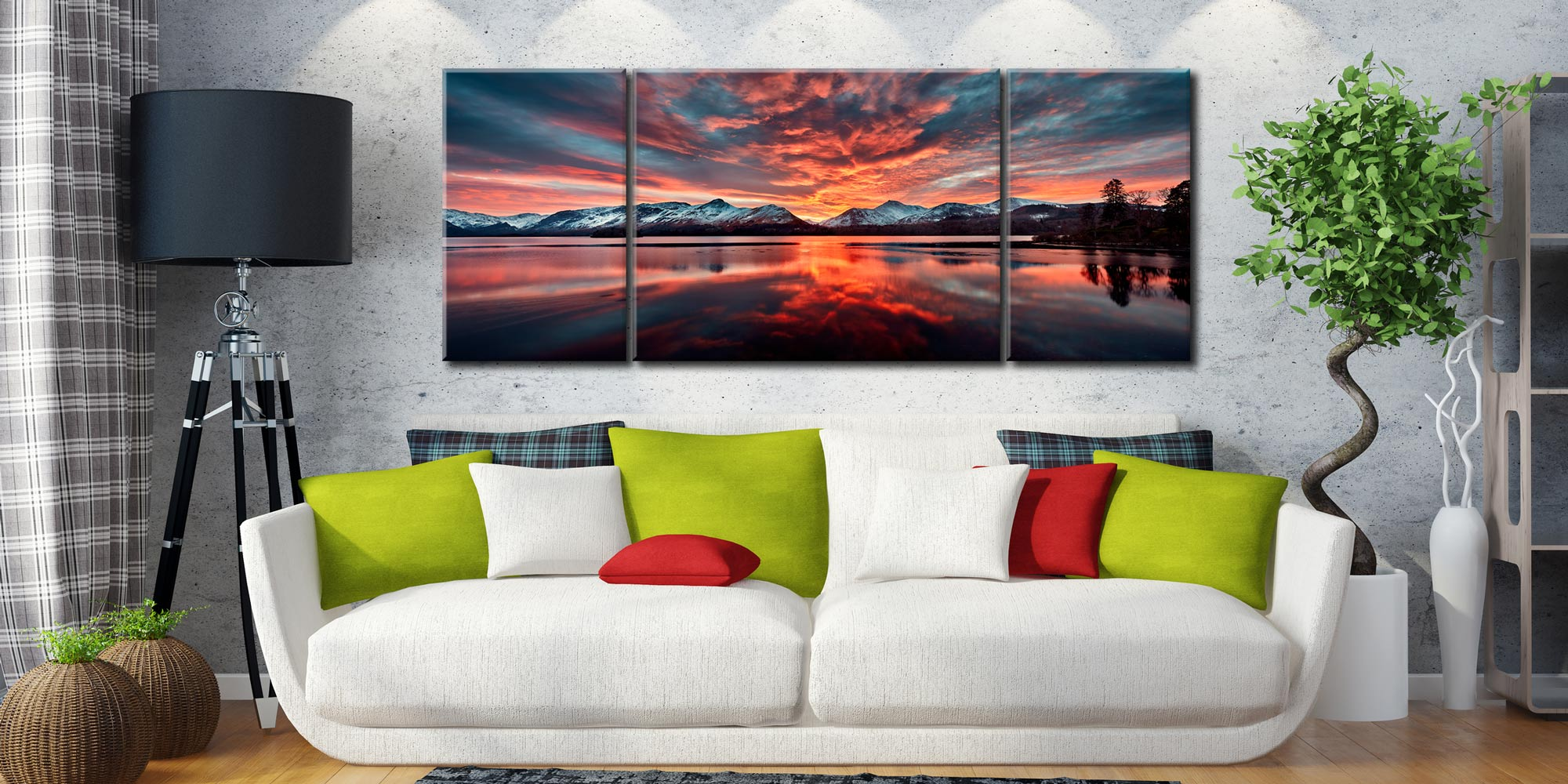 Red Skies Over Derwent Water  - 3 Panel Wide Mid Canvas on Wall