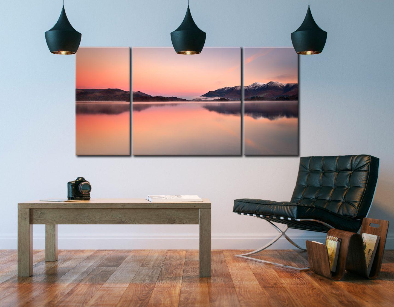 Serenity Derwent Dawn - 3 Panel Wide Centre Canvas on Wall