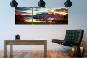 Derwent Water at Dusk - 3 Panel Canvas on Wall