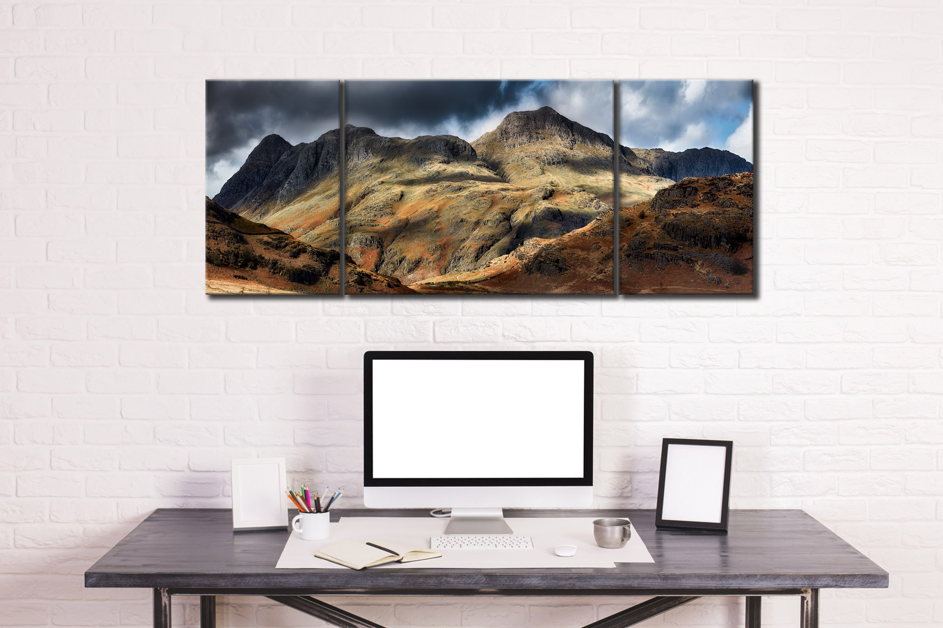 The Langdale Pikes  - 3 Panel Wide Mid Canvas on Wall