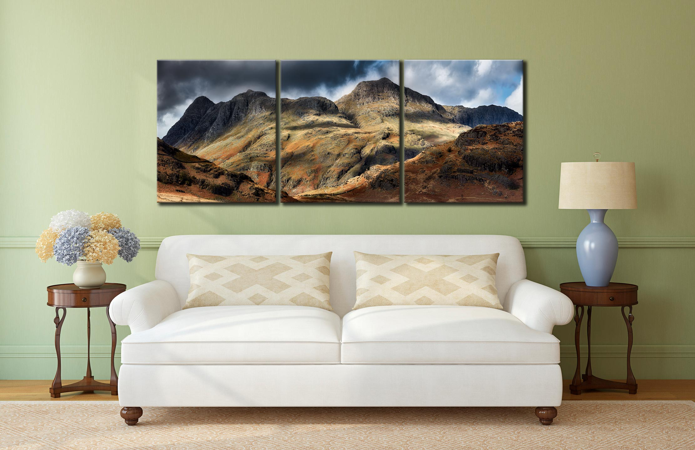 The Langdale Pikes  - 3 Panel Canvas on Wall