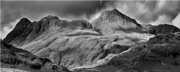 Langdale Pikes Black and White - Canvas Print