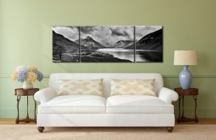 Dark Skies Over Wast Water Black White - 3 Panel Wide Mid Canvas on Wall