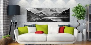 Dark Skies Over Wast Water Black White - Canvas Prints Print on Wall