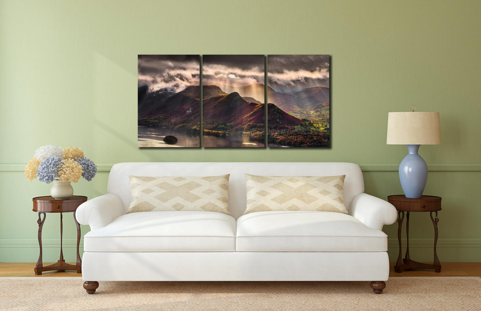 Sunshine and Showers on Cat Bells - 3 Panel Canvas on Wall