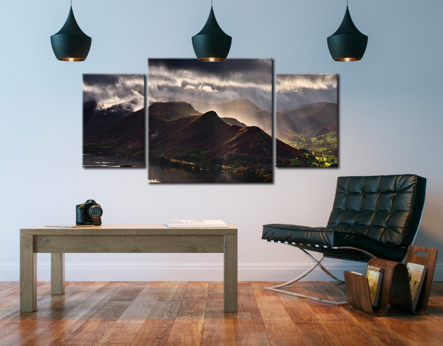 Sunshine and Showers on Cat Bells - 3 Panel Canvas Arch on Wall
