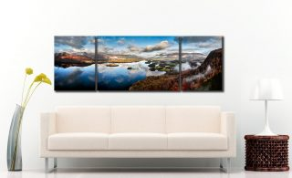 Clouds and Islands - 3 Panel Wide Mid Canvas on Wall