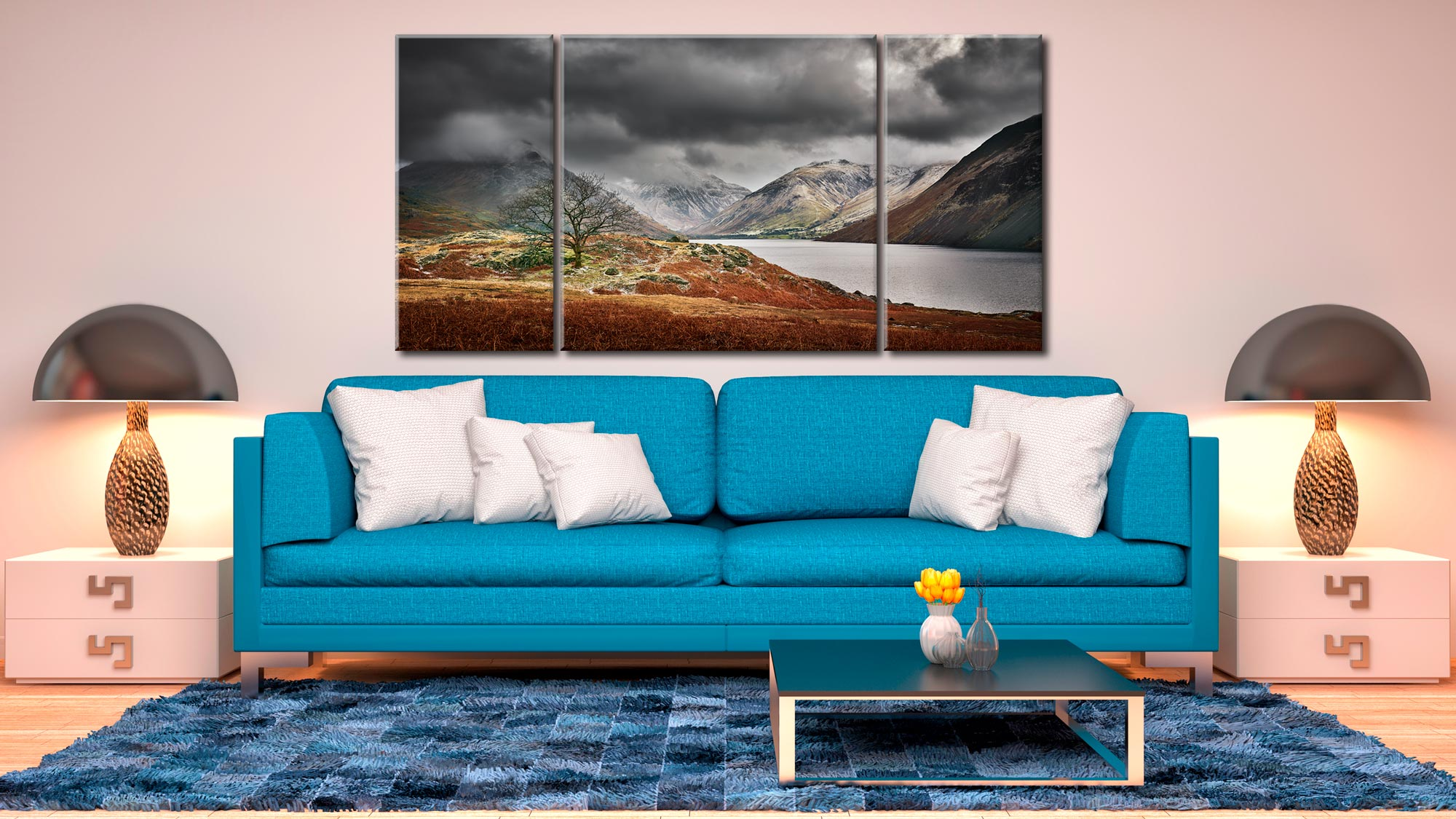 Winter Colours of Wast Water - 3 Panel Wide Centre Canvas on Wall