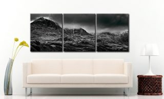 Scafell Mountains in Winter  - 3 Panel Canvas on Wall