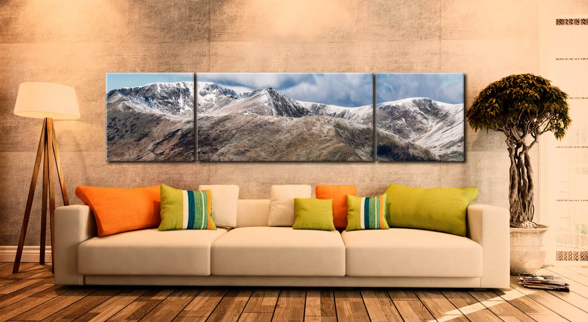 Helvellyn Mountains Panorama - 3 Panel Wide Centre Canvas on Wall