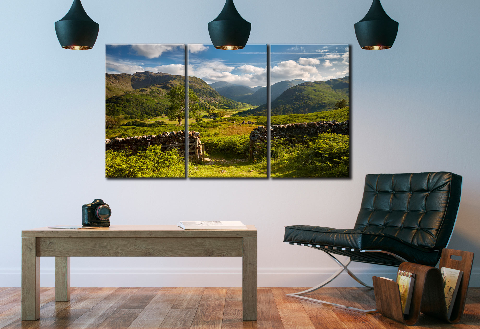 Green and Pleasant Land - 3 Panel Canvas on Wall