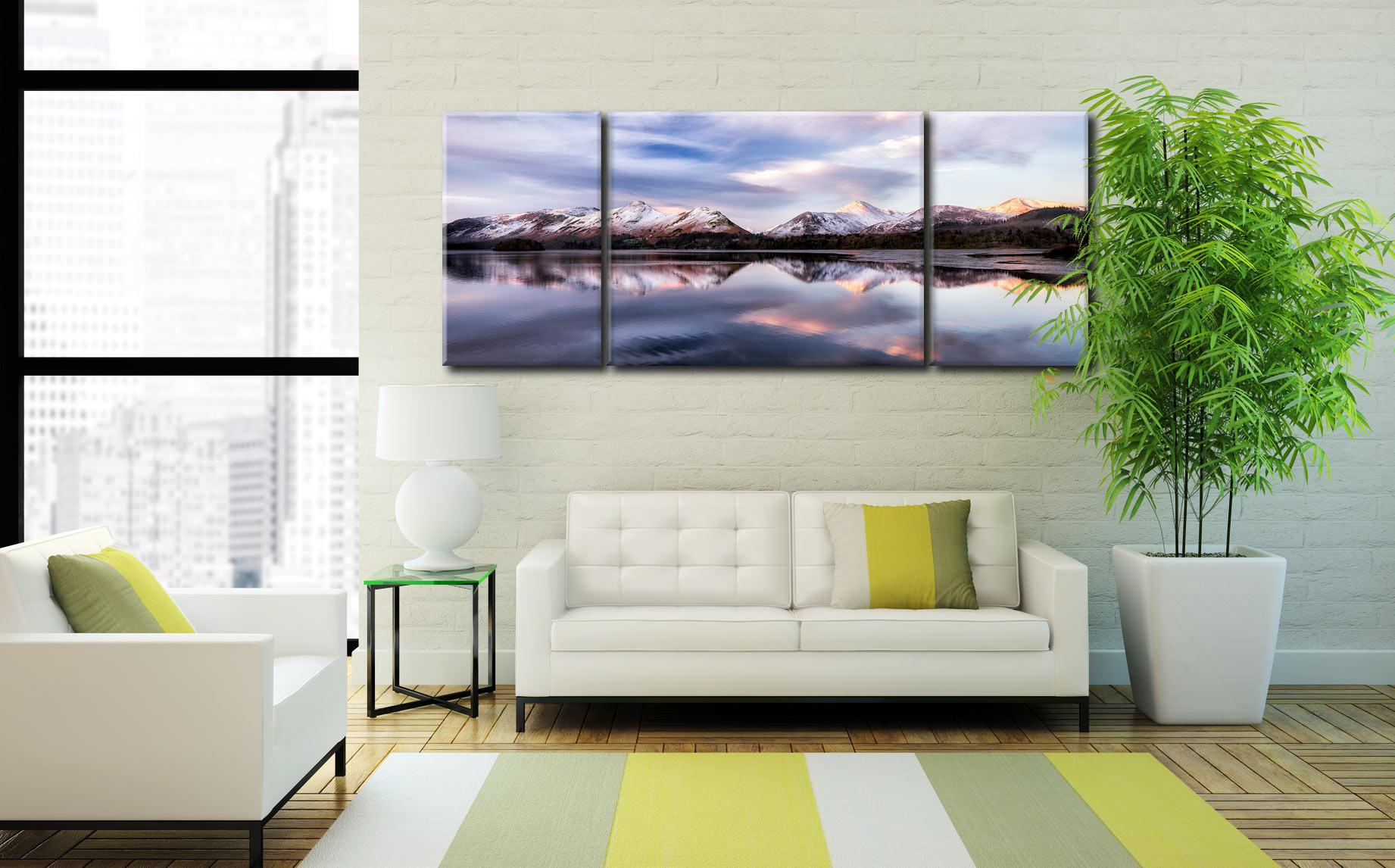 Colours of Dawn at Derwent Water  - 3 Panel Wide Mid Canvas on Wall