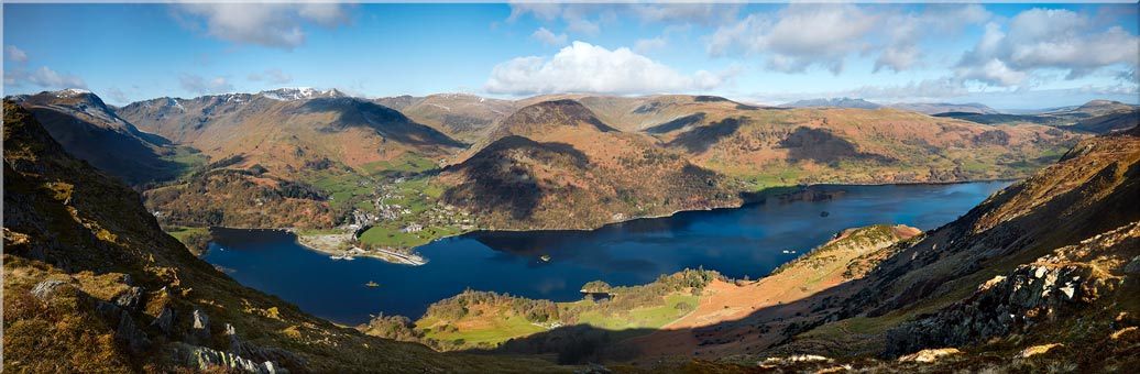 Ullswater and Glenridding Panorama - Canvas Prints Print