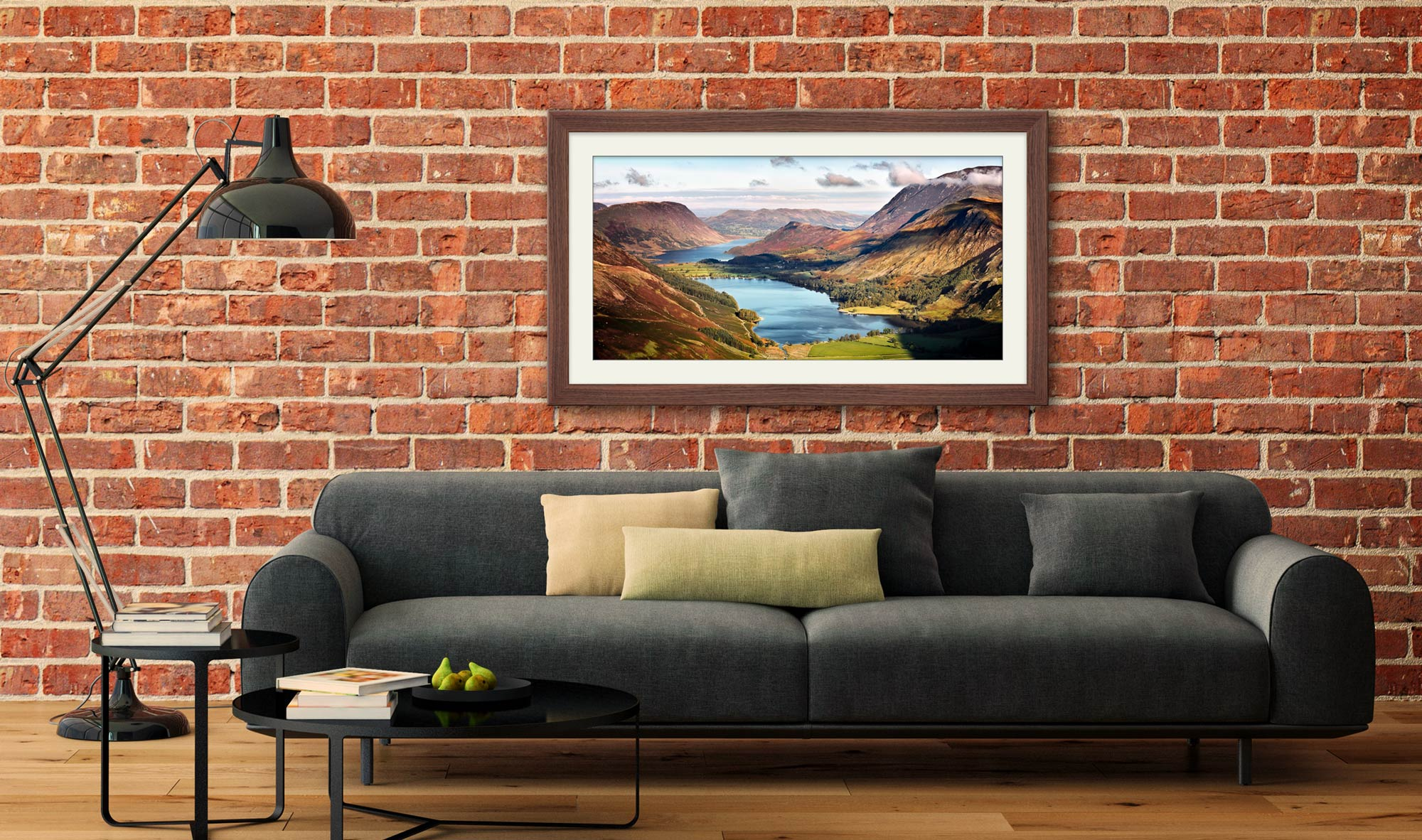 Buttermere and Crummock Water - Framed Print with Mount on Wall