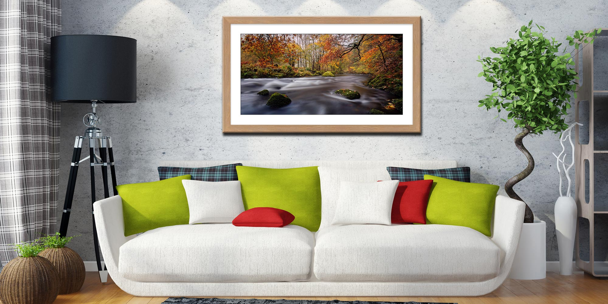 Autumn Colours of River Rothay - Framed Print with Mount on Wall