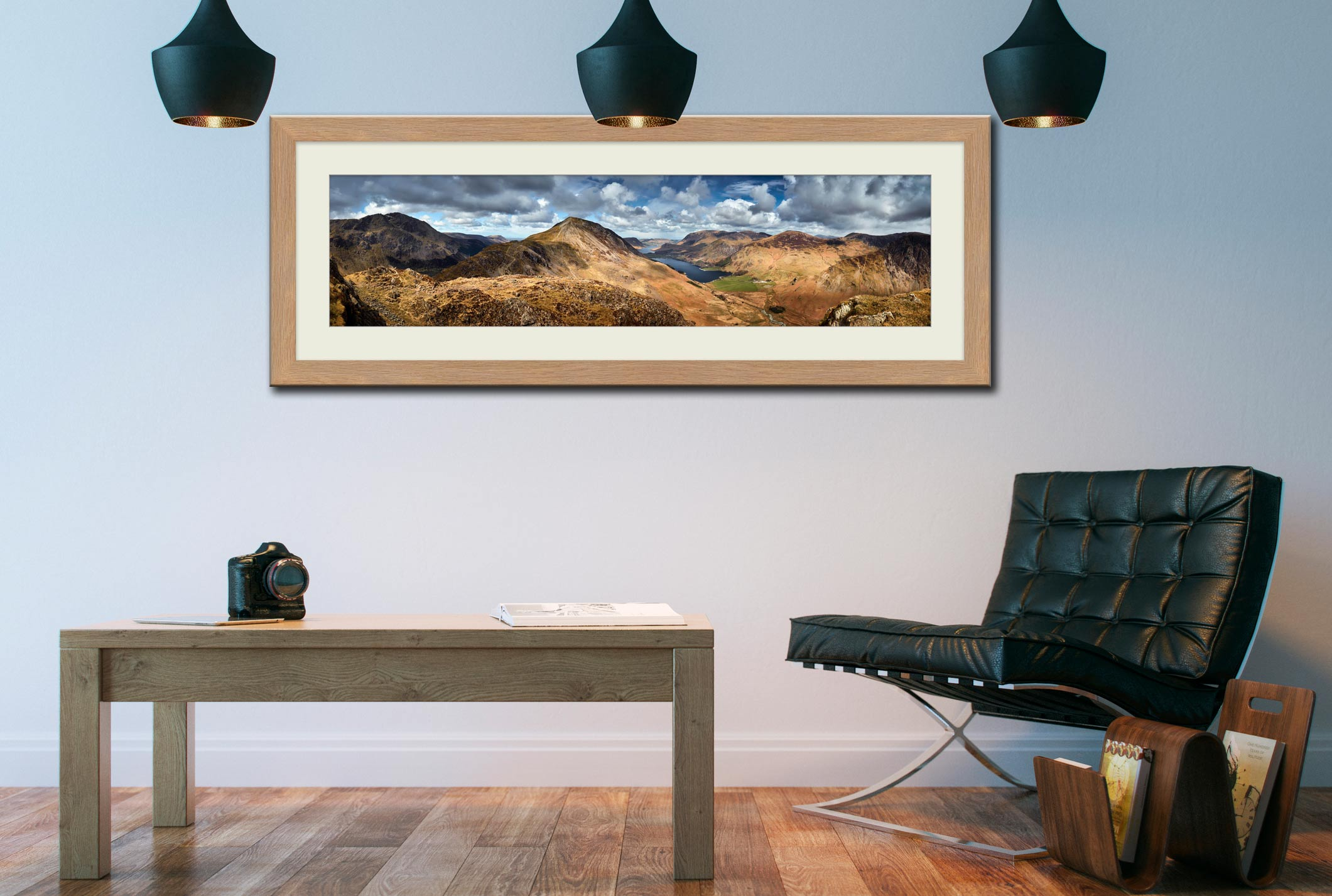 High Crag and Buttermere Panorama - Framed Print with Mount on Wall