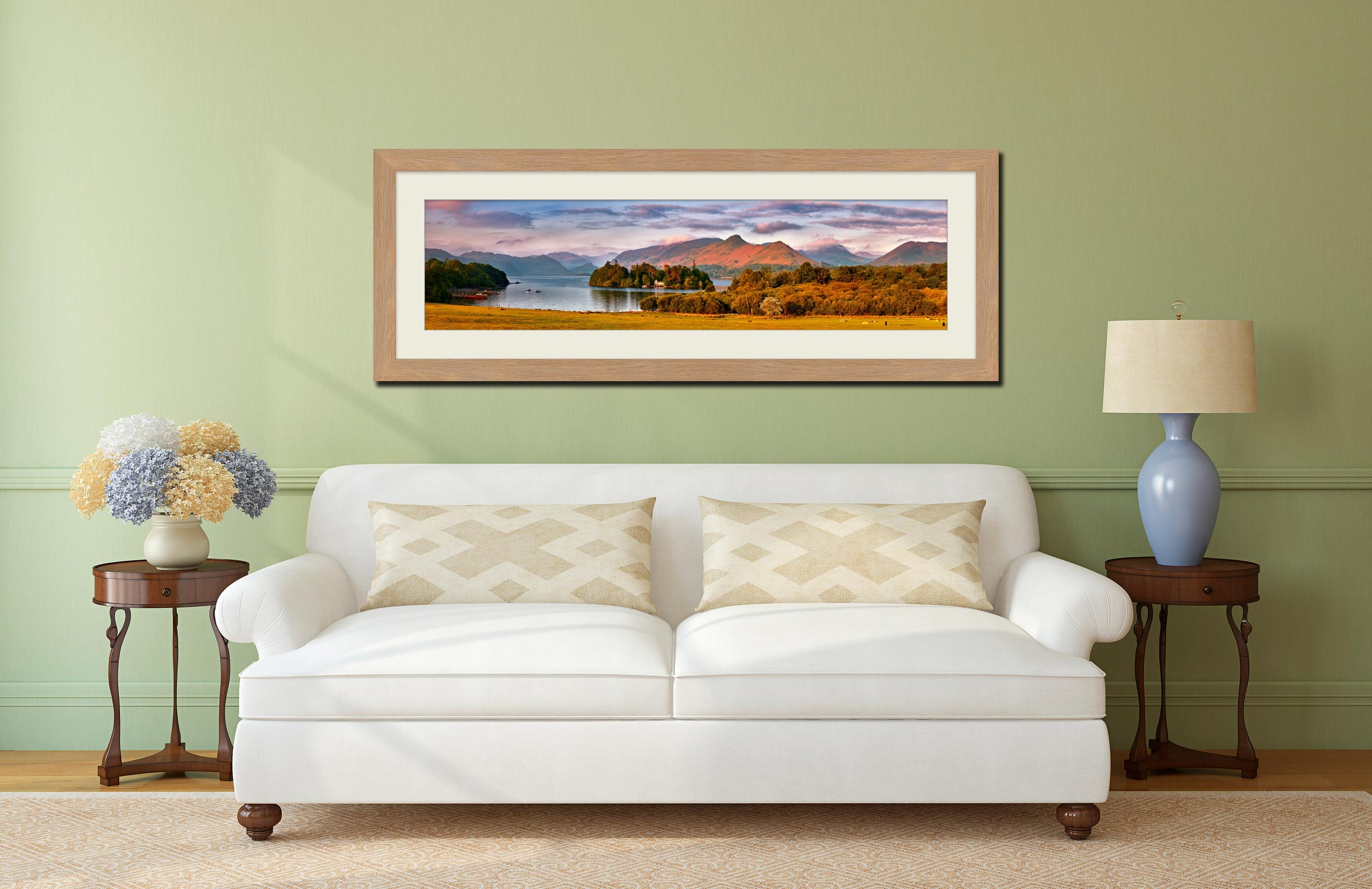Derwent Water and Cat Bells in Morning Light - Framed Print with Mount on Wall