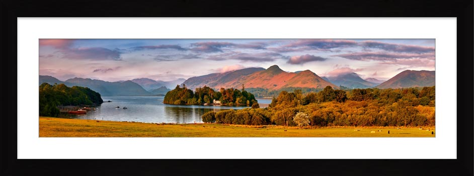 Derwent Water and Cat Bells in Morning Light - Framed Print with Mount
