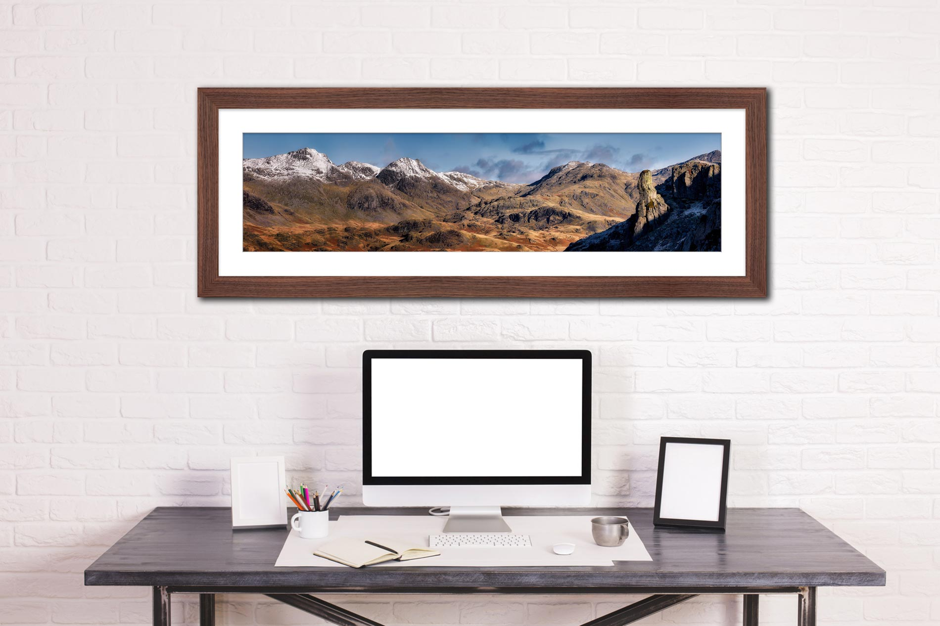 Eskdale Needle and Scafell Panorama - Framed Print with Mount on Wall