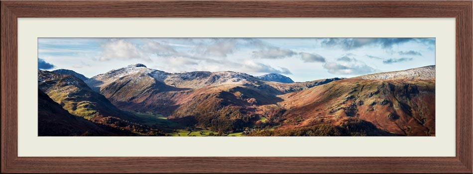 Borrowdale Mountains Panorama - Framed Print with Mount