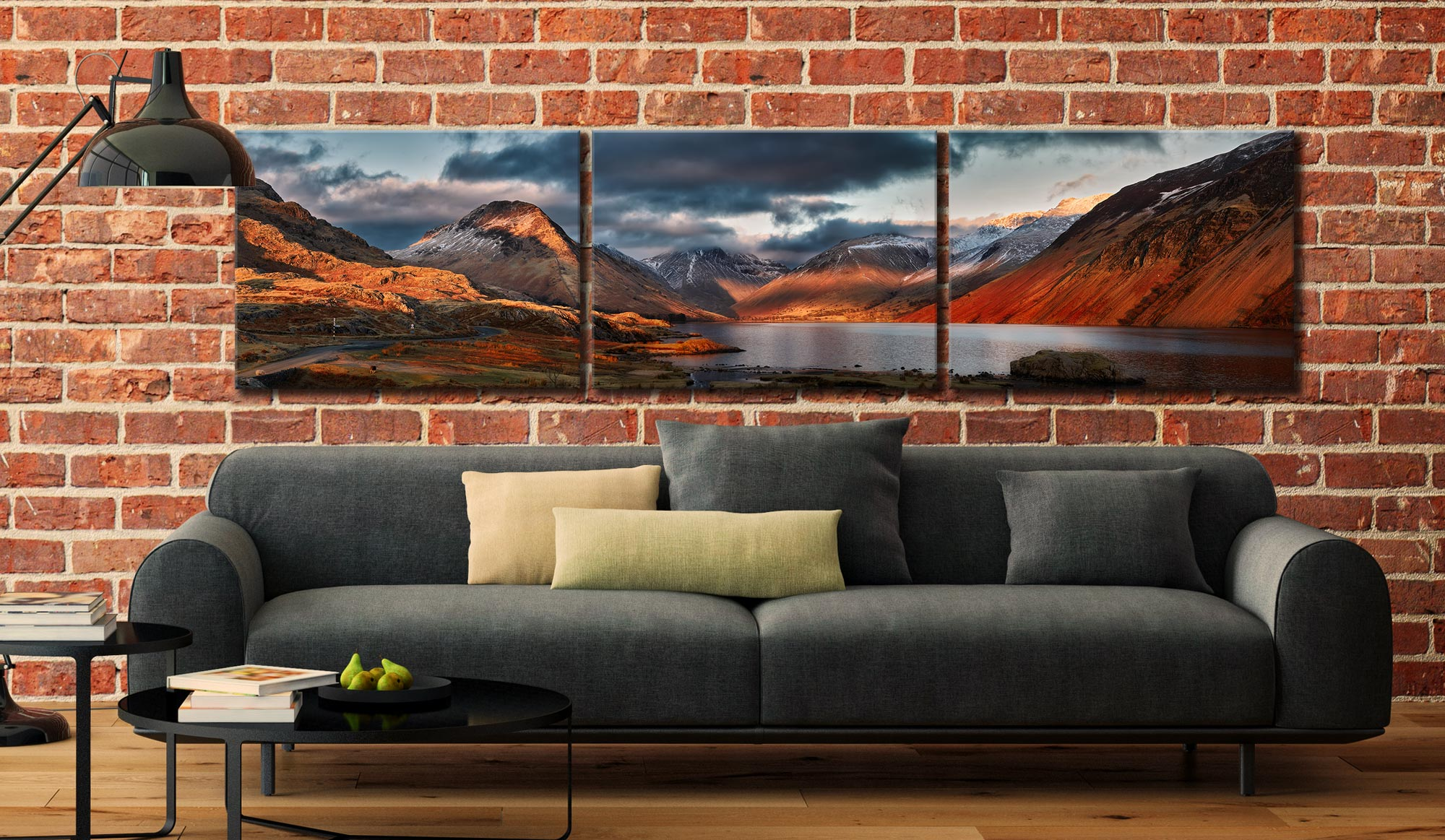 Winter Sun Over Wast Water - 3 Panel Canvas on Wall