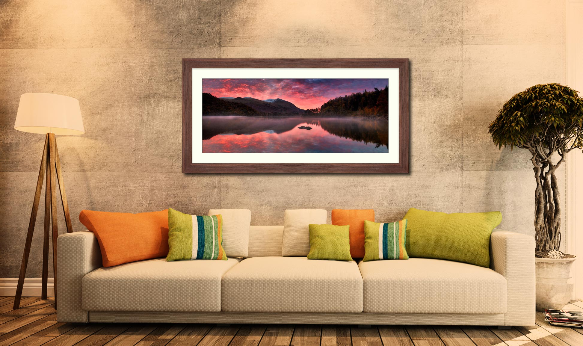 Thirlmere Autumn Sunrise - Framed Print with Mount on Wall