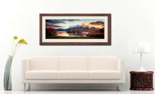 Derwent Water at Dusk - Framed Print with Mount on Wall