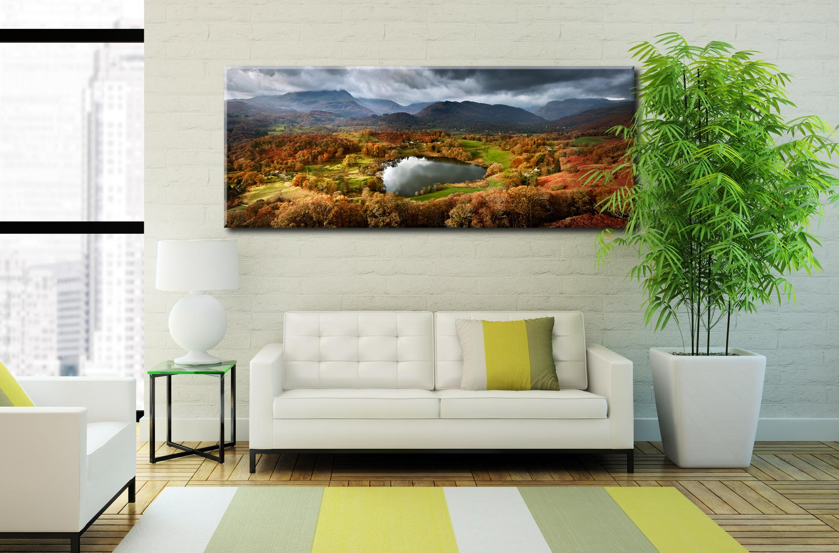Loughrigg Tarn in Autumn Sunshine - Canvas Print on Wall