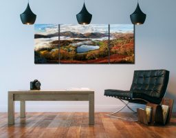 Loughrigg Tarn and Langdale Panorama - 3 Panel Wide Mid Canvas on Wall