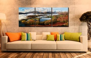 Loughrigg Tarn and Langdale Panorama - 3 Panel Canvas on Wall