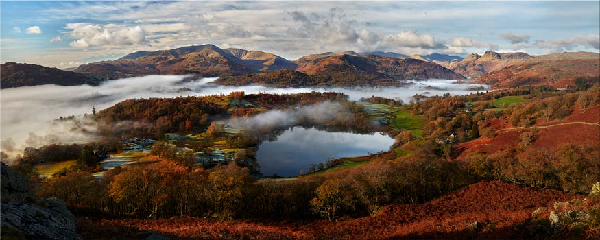 Loughrigg Tarn and Langdale Panorama - Canvas Print