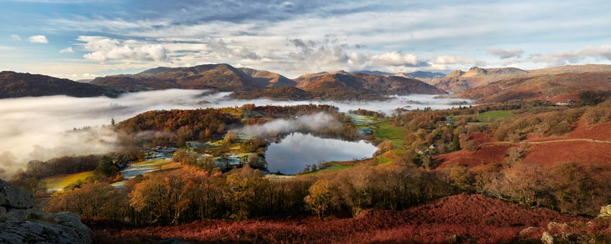 Loughrigg Tarn and Langdale Panorama - Framed Print with Mount