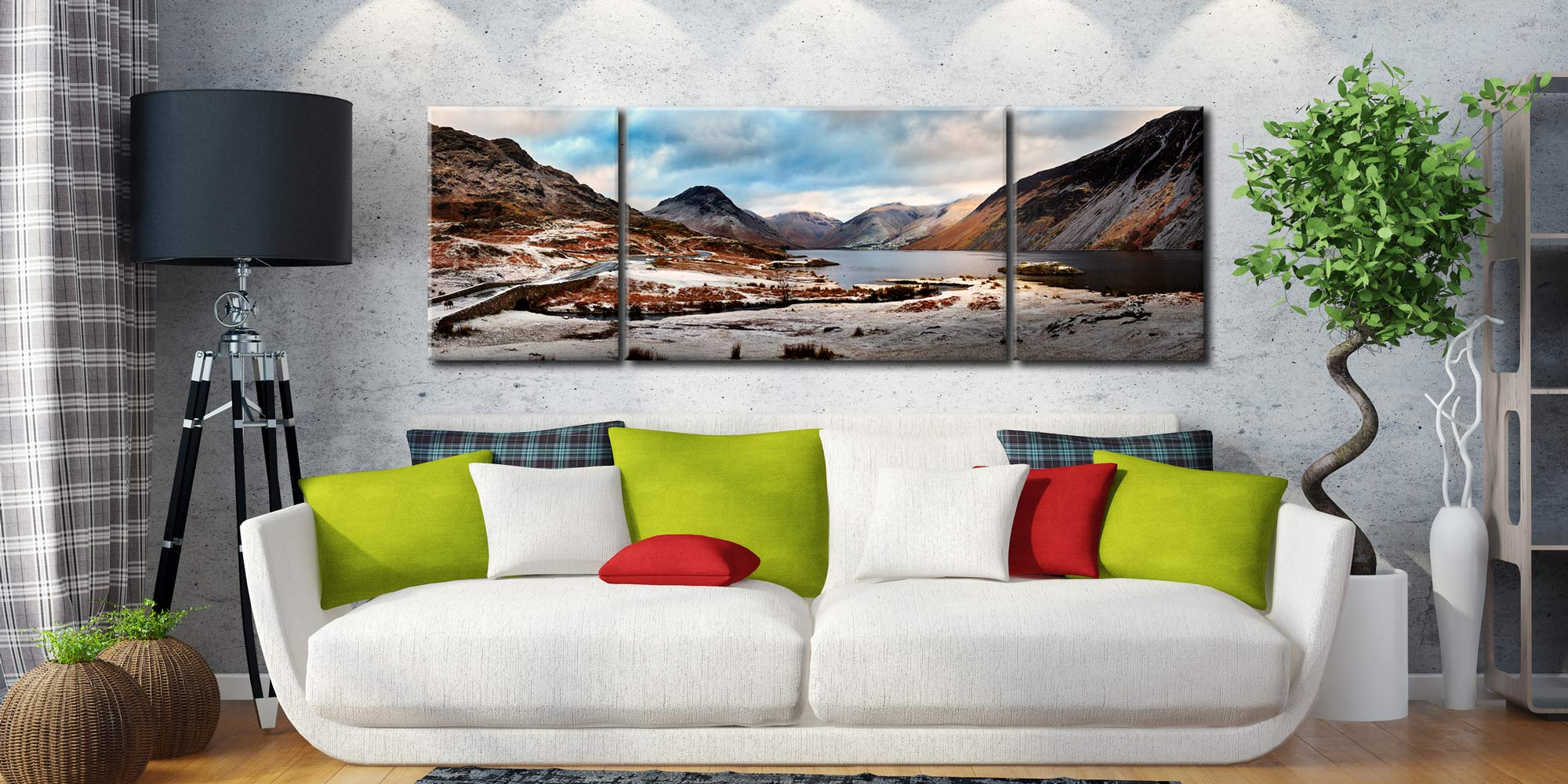 Snowy Day at Wast Water - 3 Panel Wide Mid Canvas on Wall