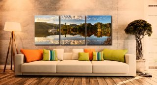 Brandelhow Point Reflections - 3 Panel Canvas on Wall