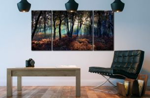 Sherwood Forest Beams - 3 Panel Wide Centre Canvas on Wall