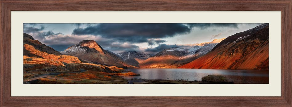 Winter Sun Over Wast Water - Framed Print with Mount